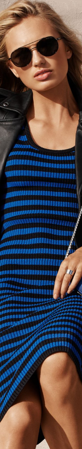 MICHAEL MICHAEL KORS Striped Ribbed Tank Dress