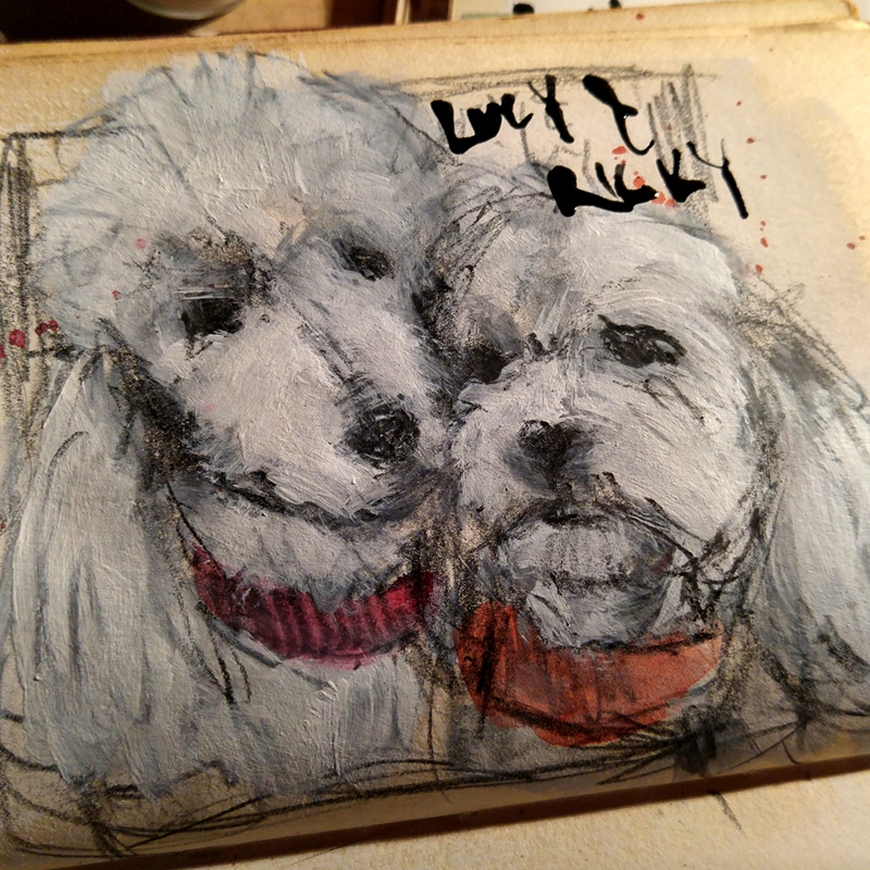 sketch of two dogs from two photo references in preparation for final painting