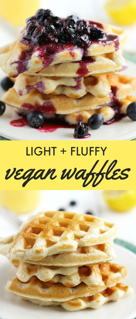 Light And Fluffy Vegan Waffles with Blueberry Sauce. #fluffy #waffles #blueberry #sauce #vegan #veggies #veganrecipes