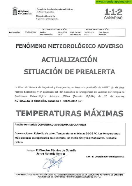 PREALERTA por temperaturas máximas y ALERTA por riesgo de incendios forestales