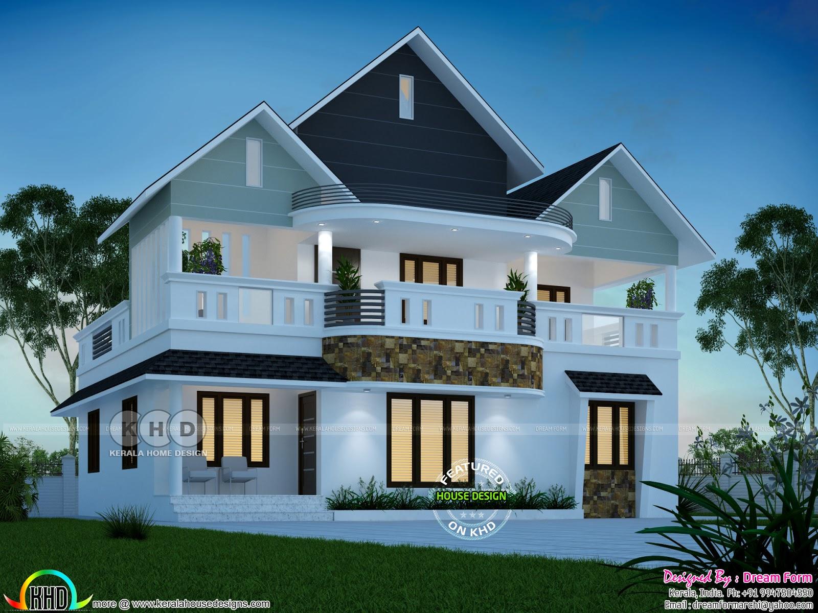 1900 Square Feet 4 Bedroom Dream Home Design Kerala Home