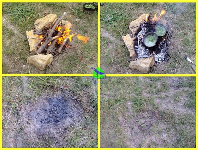 feu sans traces, camoufler, feu de camp, stage survie