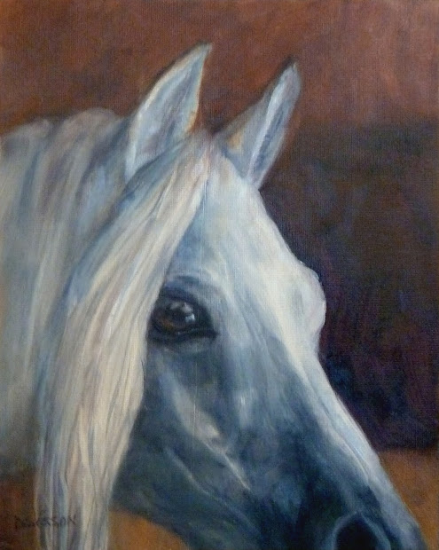 Daily Painting Projects Gray Angel Horse Portrait Oil Pet Art Animals