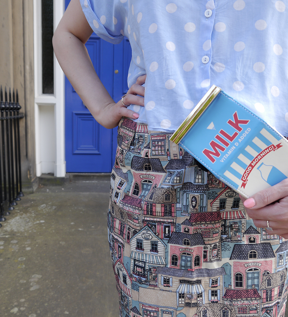 Scottish blogger, blogger favourite, DIY your own skirt, Edinburgh blogger, Scottish street style, quirky street style, dressing to a theme, food inspired outfit, pale girl style,