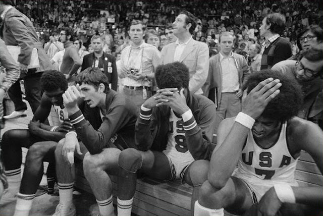 The 1972 Summer Olympics in Munich, Germany. USA mens basketball after loss to USSR
