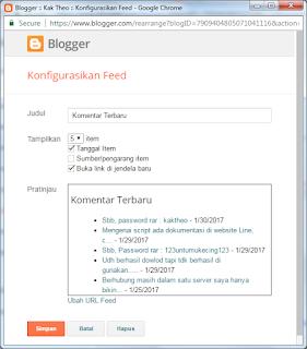 Menampilkan Komentar Terbaru di Blogspot