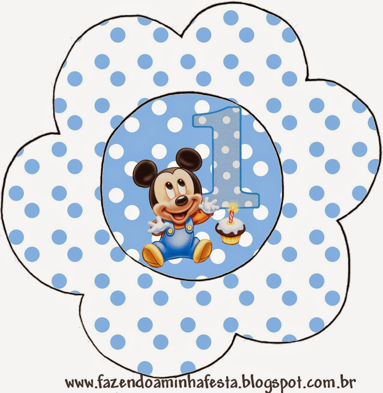 Flower invitation of  First Year of Mickey with Polka Dots.