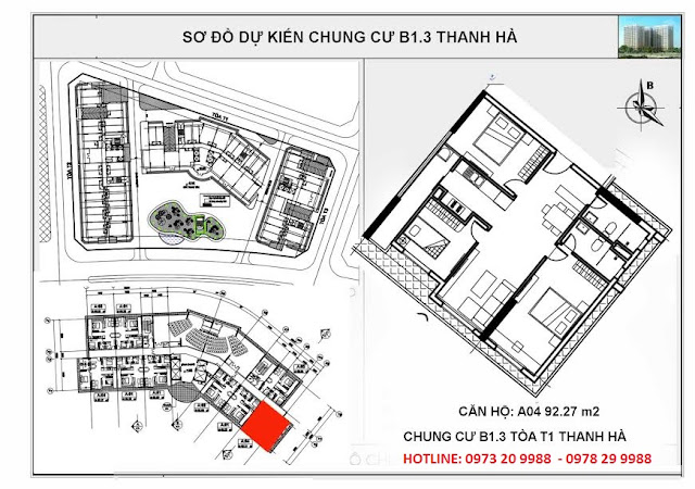 Sơ đồ mặt bằng chi tiết căn hộ A04 tòa T1 chung cư B1.3 Thanh hà