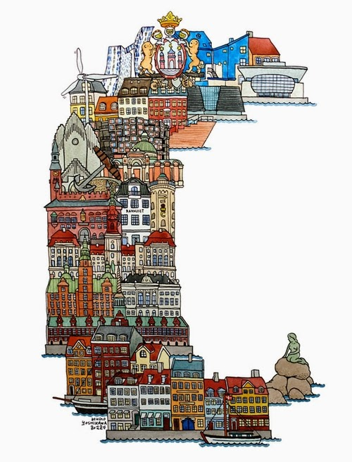 03-C-Copenhagen-Denmark-Hugo-Yoshikawa-Illustrated-Architectural-Alphabet-City-Typography-www-designstack-co