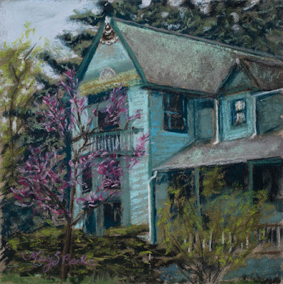 Springtime in Old Town pastel painting of Victorian House by Mary Benke