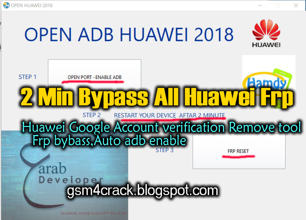 Huawei Google Account Verification Remove Tool Frp bybass,Auto ADB