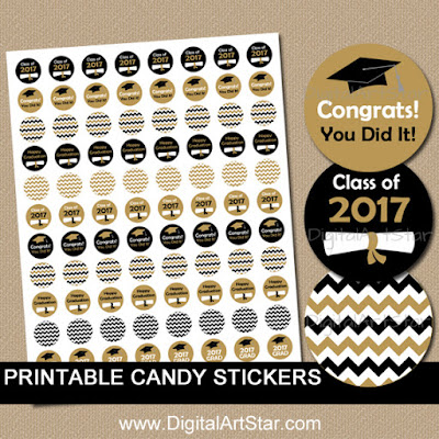 printable graduation candy stickers in black and gold for the Class of 2017