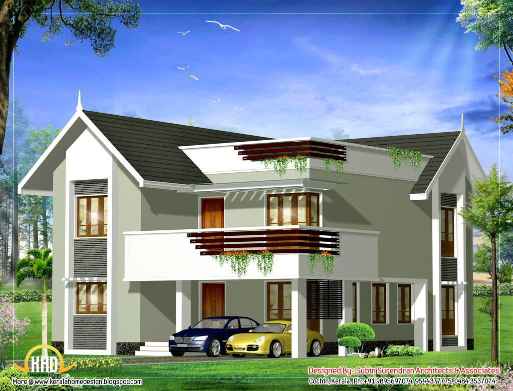 Duplex house elevation 2379 sq ft kerala home design for Elevation of kerala homes