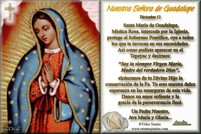 Imagen Con Oración A Nuestra Señora De Guadalupe