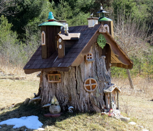 fairy house made from a tree stump