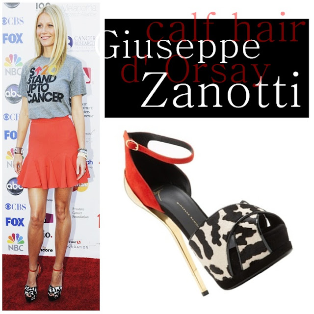 Gwyneth Paltrow wearing Guiseppe Zanotti's Calf Hair d'Orsay platforms