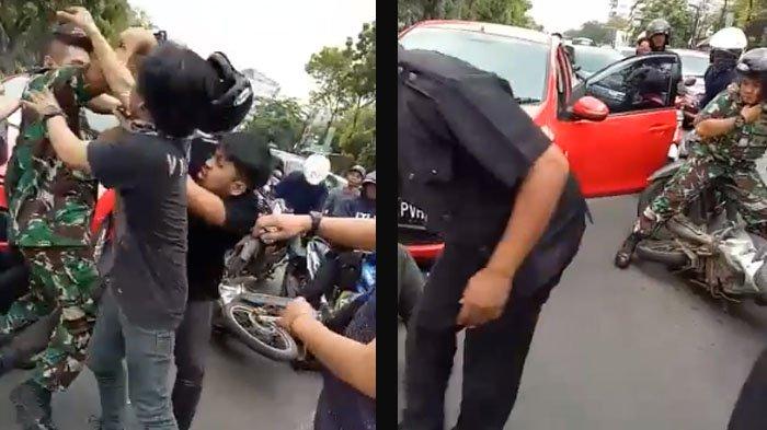 VIDEO: Pria Berseragam Loreng Terlibat Duel di Jalan Raya, Begini Kronologisnya