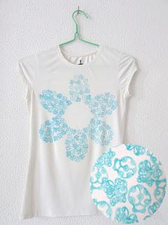 Camiseta estampada DIY con sellos de caucho, estampado de animales, forma de flor