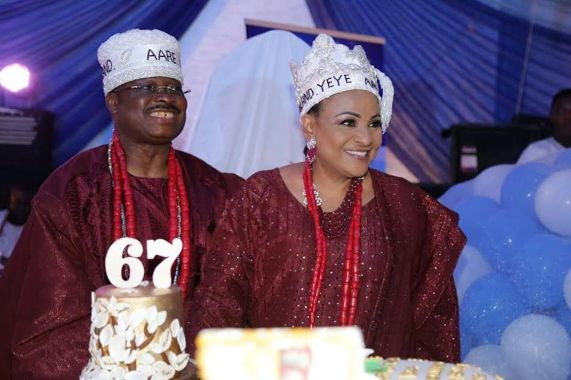Regal! Oyo state governor, Abiola Ajimobi and wife bag chieftaincy titles (phptos)
