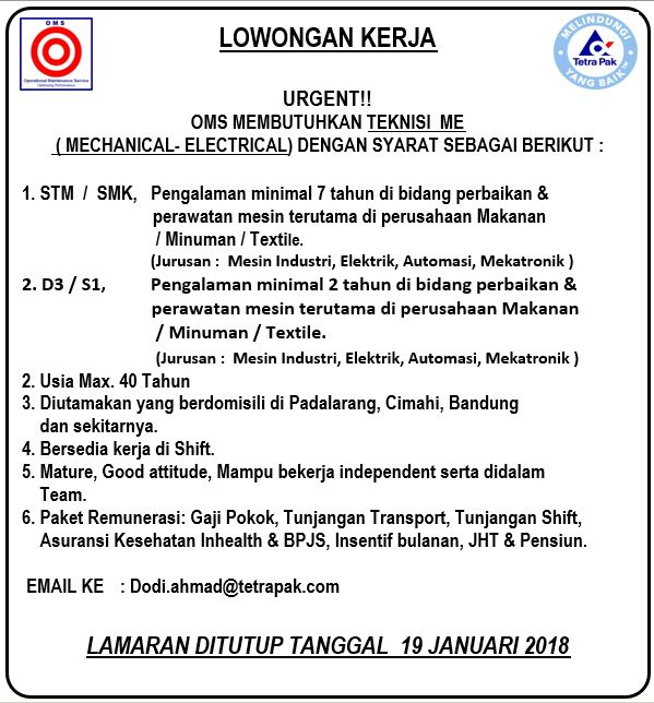Lowongan Kerja Mechanical-Electrical Bandung Terbaru 2018