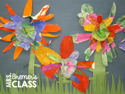 Spring art activity for Kindergarten- making flowers using warm and cool colors.