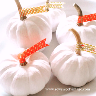 washitape crafts white pumpkin place markers for Thanksgiving