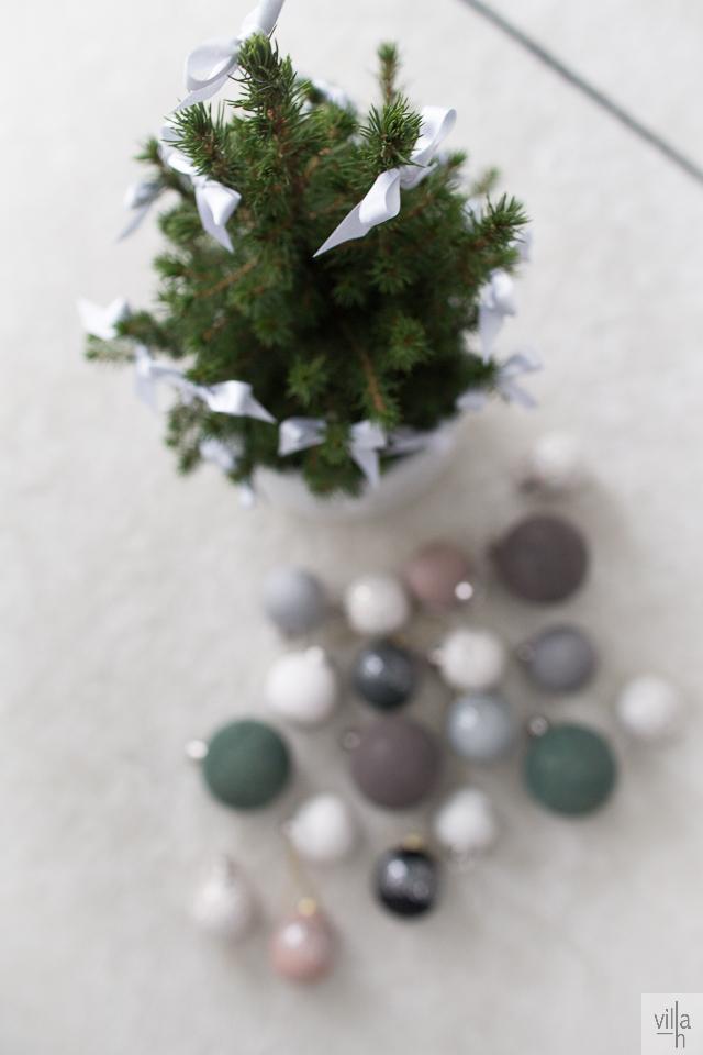 ideoita jouluun, joulukuusi, rusetit