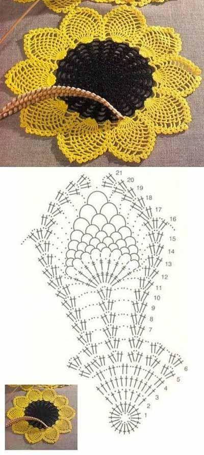 Patron Crochet Flor Girasol