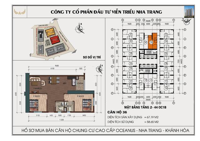 Sơ đồ căn hộ số 36  tòa OC1B Viễn Triều Nha Trang