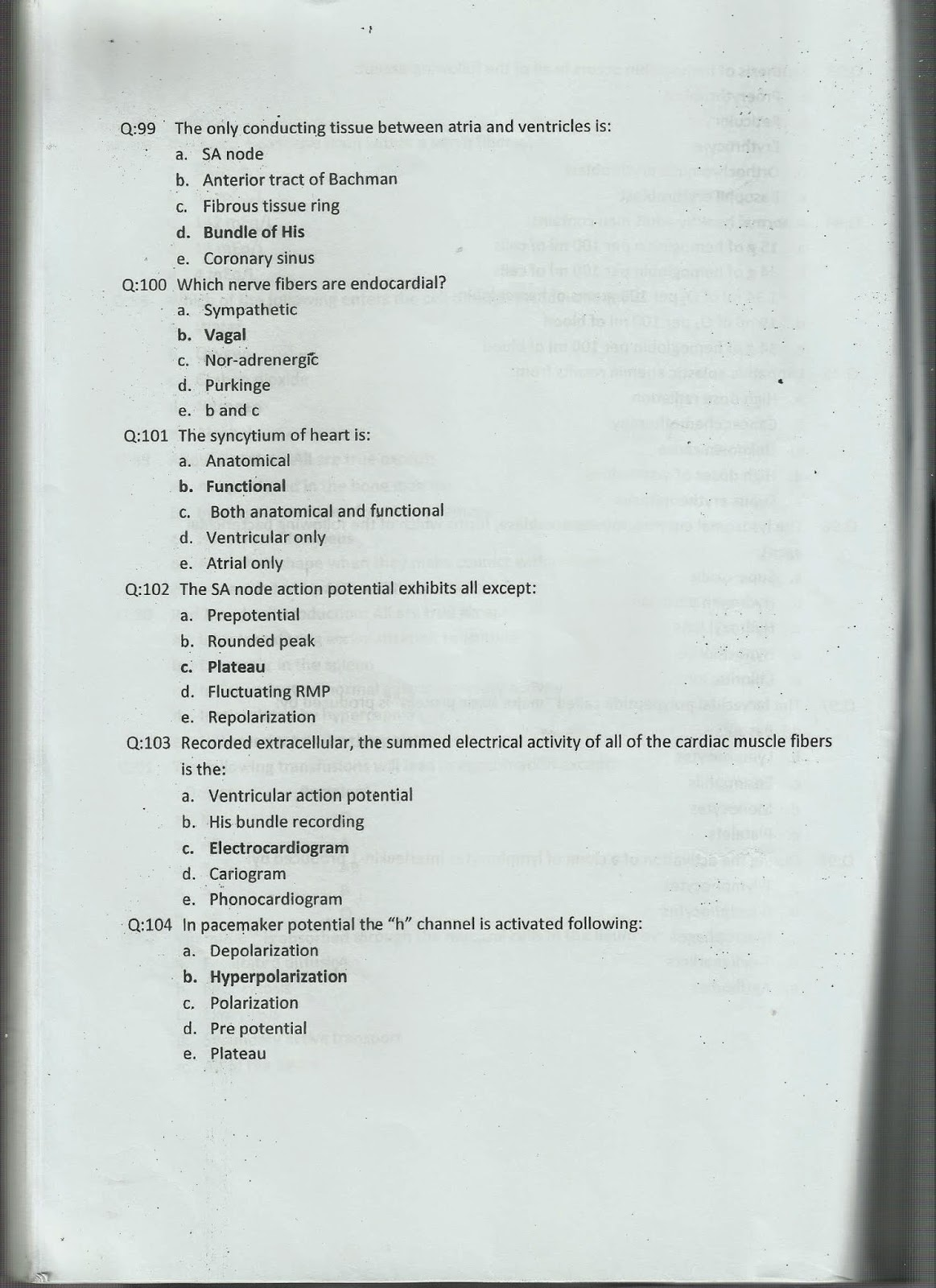 1st Year MCQs Physiology