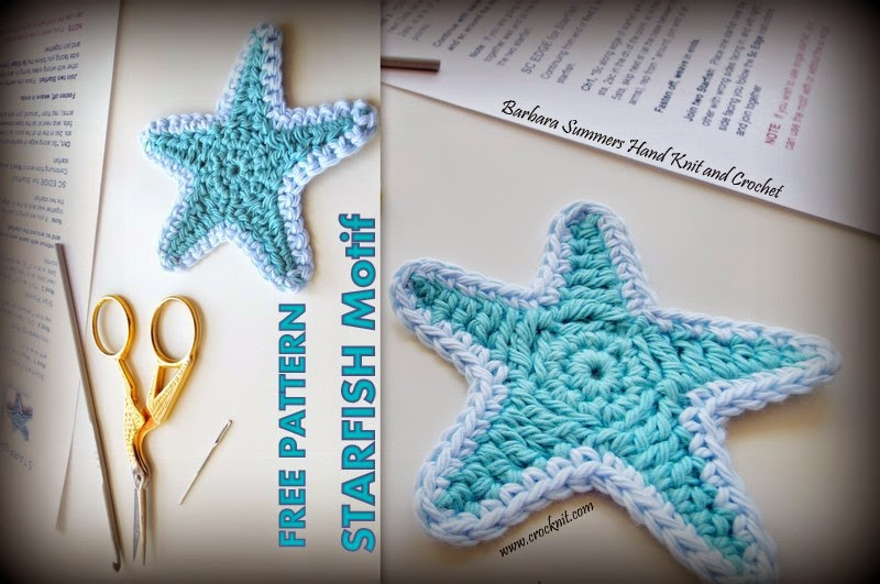 five point star, free crochet patterns, how to crochet, motif, star, starfish,