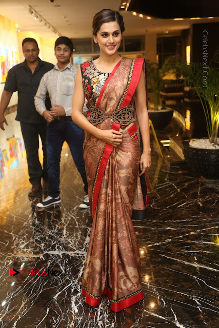 Tapsee Pannu Latest Stills in Red Silk Saree at Anando hma Pre Release Event .COM 0003.JPG