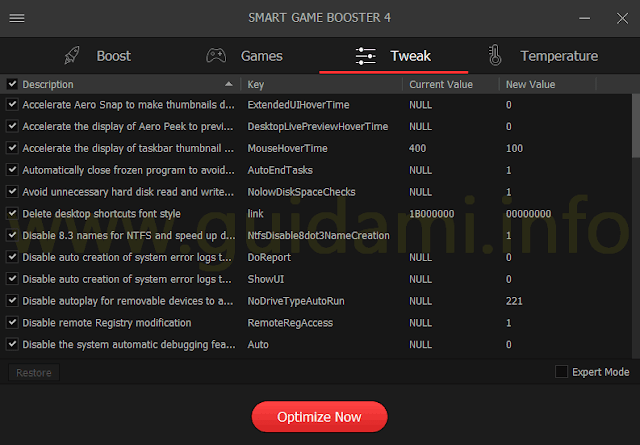 Smart Game Booster scheda Tweak