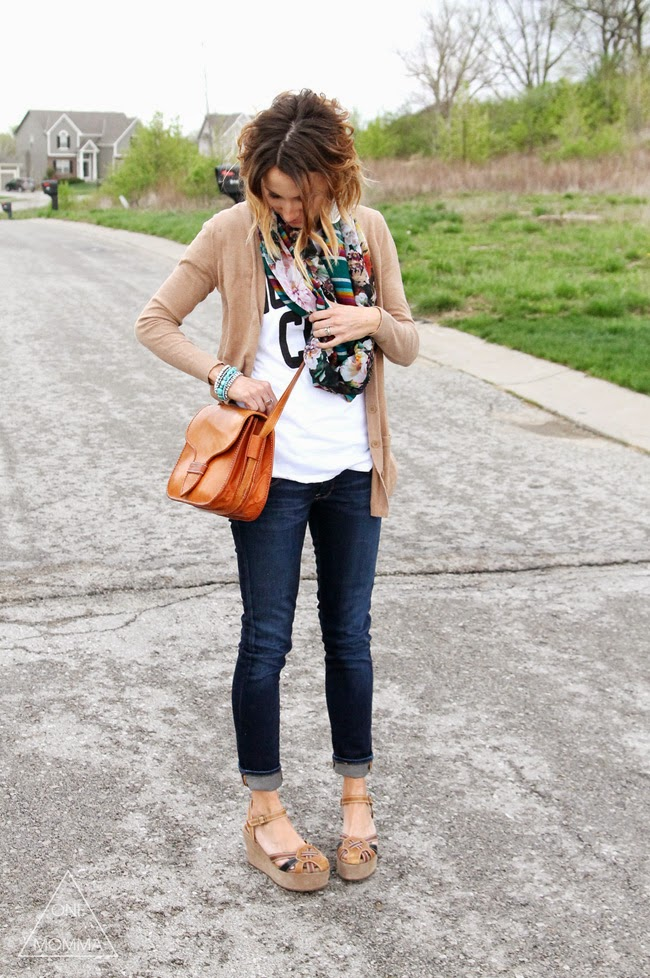 Camel cardigan, mixed print scarf, turquoise jewelry, dark cuffed skinnies