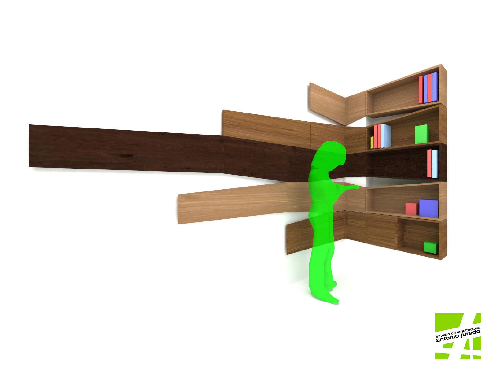 diseño de mobiliario estanteria estudio de arquitectura interiorismo arquitectos antonio jurado malaga