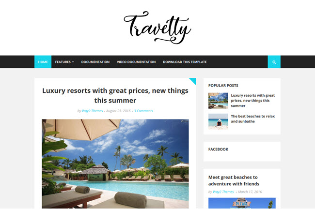 Travelty Blogger Template Premium Free Download