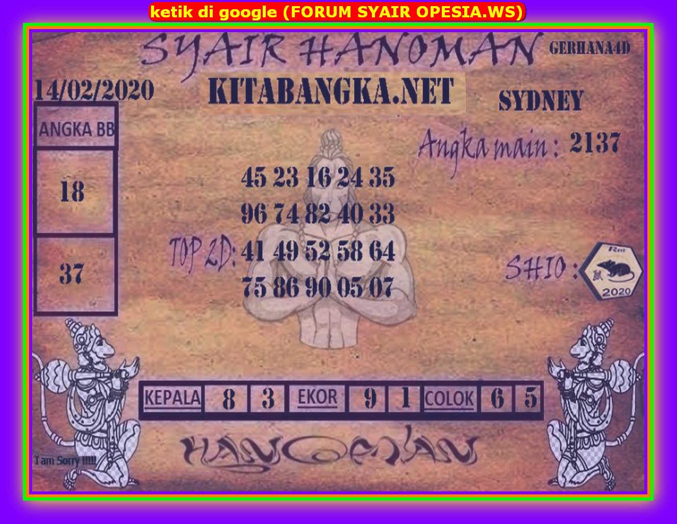 Kode syair Sydney Jumat 14 Februari 2020 76
