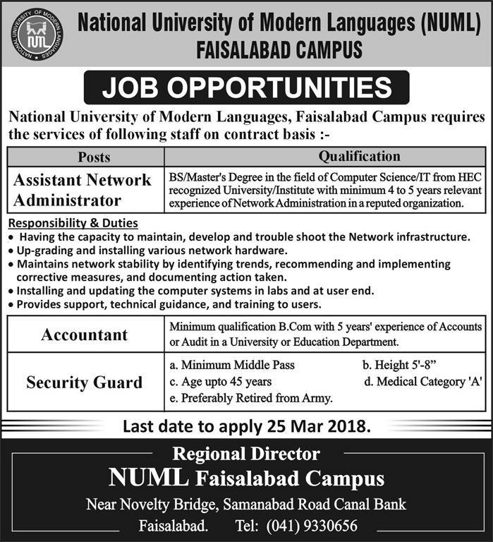 NUML 2018 jobs in National University of Modern Languages