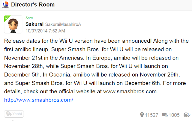 Masahiro Sakurai Super Smash Bros. For Wii U release dates Miiverse announcement