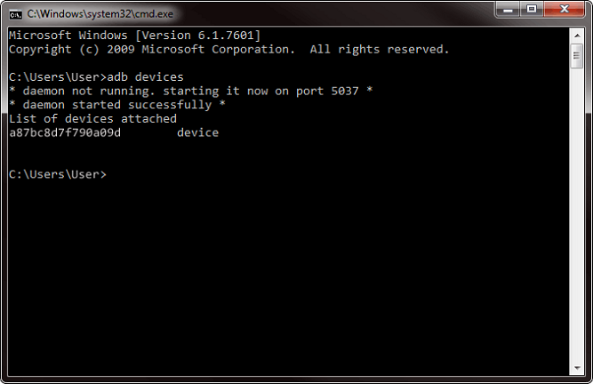 android adb devices on command prompt