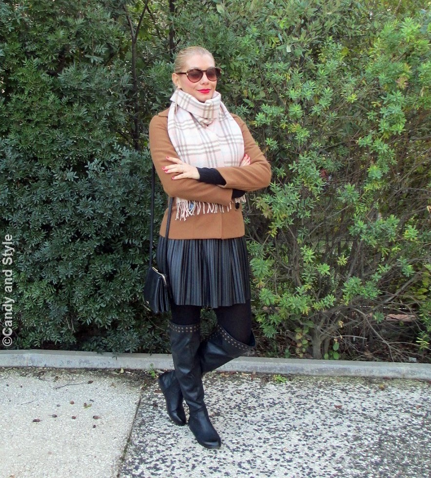 PlaidScarf, CamelCoat, PleatedSkirt, Overknees, TrioBag, VintageSunnies, HighPonytail, RedLips - Candy and Style Fashion Blog