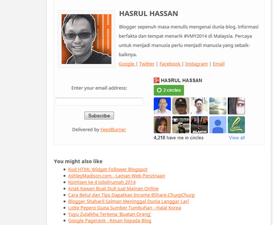 HTML Widget Google+ Follower Blogspot