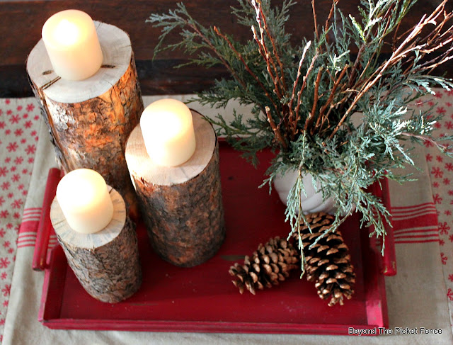 candles, pinecones, Christmas centerpiece, DIY, fusion mineral paint, inexpensive decor, natural, http://bec4-beyondthepicketfence.blogspot.com/2015/12/12-days-of-christmas-day-8-woodland.html