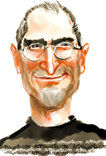 Steve Jobs caricature cartoon. Portrait drawing by caricaturist Artmagenta