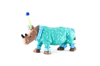 "Jumbo Party Animal ""Sam"" the Rhino painted carnival, circus, and birthday decor rhinoceros zoo jungle safari party hat polka dots hand painted decorated ribbon tinsel paint centerpiece cake topper cupcake shower birthday party nursery art gift baby girl boy children's kids joint boy girl pink blue purple green yellow"