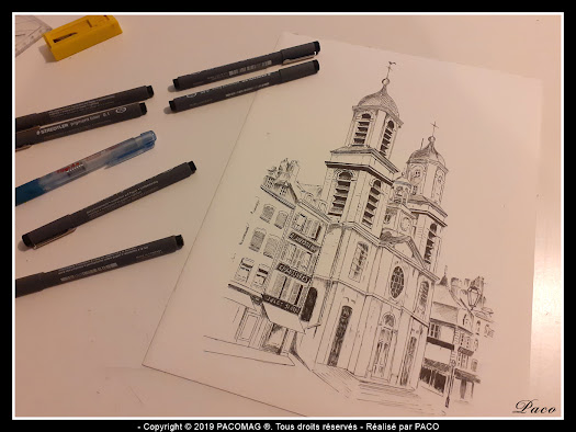 dessin au trait église Saint-Charles Sedan par paco