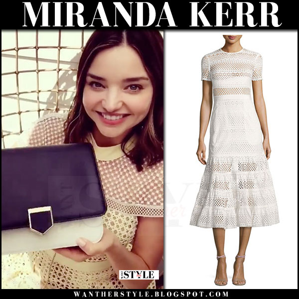 Miranda Kerr in white embroidered dress self portrait what she wore june 22 2017