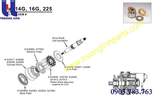 Cấu tạo bơm thủy lực Cat12G / Cat14G / Cat140G  cho xe đào E200B  MS180