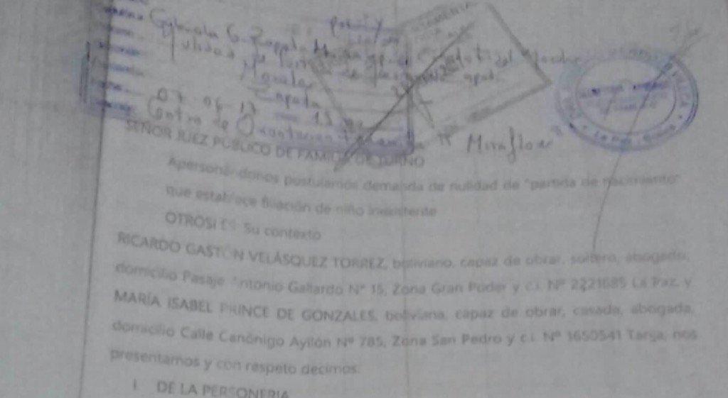 Memorial presentado por abogados de Morales para anular inscripción de un nombre particular