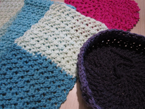 crochet, hat, scarf, lace, Caron Cakes